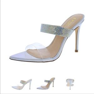 Hologram Clear Rhinestone Point Mule Stiletto Heel